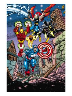 Avengers No.21 Cover: Captain America, Thor, Iron Man, Black Panther and Avengers Print by George Perez - AllPosters.ca