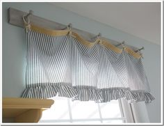 Love this valance and how it was hung on a peg rack. Hmm...or could be hung on twine with clothes pins....Great for my vintage laundry room.