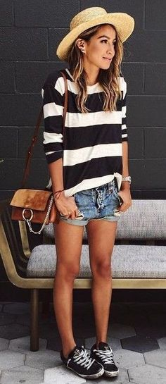 #summer #girly #outfitideas | Stripes + Denim