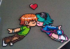 Scott Pilgrim and Ramona Flowers perler bead sprite Pixel Art Templates, Perler Bead Templates, Diy Perler Beads, Perler Bead Art, Perler Patterns, Pearler Beads, Pixel Beads, Fuse Beads, Scott Pilgrim