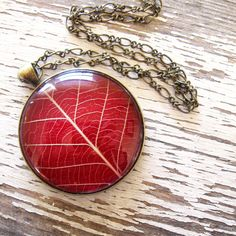 Lovely Red Leaf Necklace  Pressed Flower by wintergardenstudios