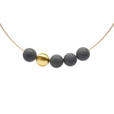 Concrete + Gold Pendant | Orbis Collection | KMP243g | KONZUK Jewelry