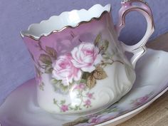 Antique Lefton China heavenly rose tea cup and saucer, Hand Painted