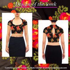 Our 'New' high neck style in our ever popular floral threadwork fabric. Go ahead...give our STYLE CREATOR a whirl! Custom design in ways you can only imagine. #customercreation #houseofblousedotcom #blouse #highneck #potneck #georgette #threadwork #yourblouseyourway