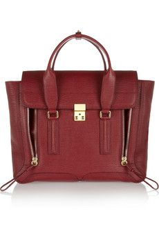 3.1 Phillip Lim The Pashli large shark-effect leather trapeze bag in CRIMSON