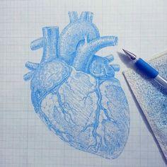 #YuHsinWu #honesty #heart #anatomy #ballpointpenart #circle #blue #graphicpaper #grid