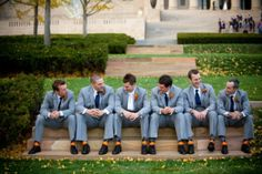 #Groomsmen #grey #suits with #argyle #socks. Real Downtown Kansas City Wedding at Boulevard Brewery by Melissa and Beth Photography on Marry Me Metro Blog