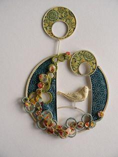 My Paisley World: Liz Cooksey's Textile Art                                                                                                                                                      More Collage Techniques, Textiles Techniques, Felt Fabric, Fabric Art, Fabric Crafts, Textile Fiber Art, Textile Artists, Belles Choses, Textile Jewelry