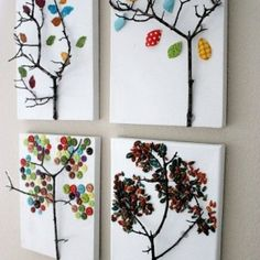 Tree branch button craft on canvas