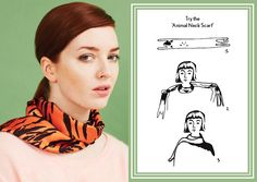 How to style the animal neck scarf knot - designer silk scarf