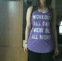 """☆Sale☆ NWT """"Work Out Twerk Out"""" Tanktop, sz M A cute and comfy tanktop for working out! Brand new with the tags, only worn to model. Size medium & a lovely purple color. 60% cotton 40% polyester. Tops Tank Tops"""