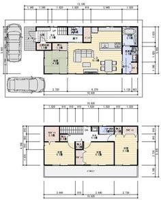33坪 4ldk 間取り 土間収納 パントリー 物干し室 Sims House, Good House, Japanese House, House Plans, Floor Plans, Flooring, How To Plan, Room, Home Decor