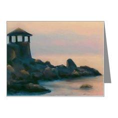 Artistic Lighthouse Warm Sun Note Cards (Pk of 10) on CafePress.com