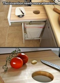 -Pull out drawer is a cutting board with hole and garbage beneath! Brilliant!
