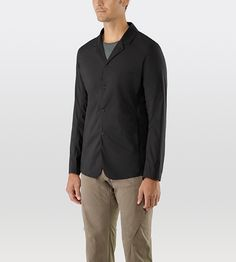 Windshell Blazer Men's Lightweight, minimalist, trim-fitted blazer that wears like a fitted shirt, made with a wind and moisture resistant fabric.