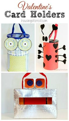 Easy Valentine Card Holders for Kids  Last year, we made 3 simple and adorable Valentines box and Valentine card holders for them to gather their Valentine's cards in.  Read on to find out how to make your own.