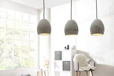Závesná dizajnová lampa z kameňa CEMENT GREY 3 SET. Suspension Metal, Suspension Design, Decoration, Cement, Industrial Design, Modern Design, Ceiling Lights, Lighting, Etsy