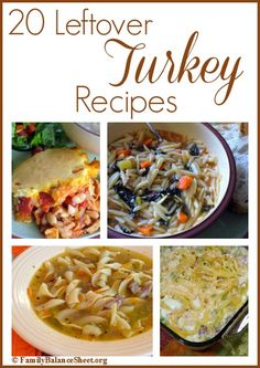 20 Leftover Turkey Recipes at FamilyBalanceSheet.org