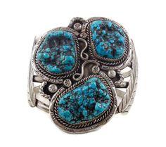 Manchette turquoise, argent Sterling, Bracelet Vintage, lourde poignet grand, grand, amérindien, plu