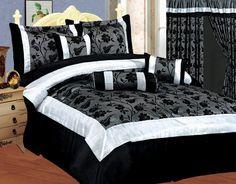 NEW Bedding Black/White Silver Gray Satin Comforter Set