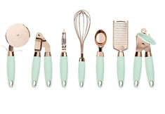Mint and copper kitchen accessories