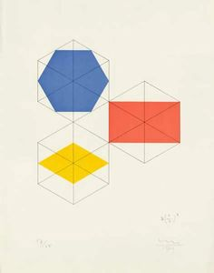 think outside the box.  Max Bill – Konstruktion für eine Figur, Japanese Screenprint, 1969