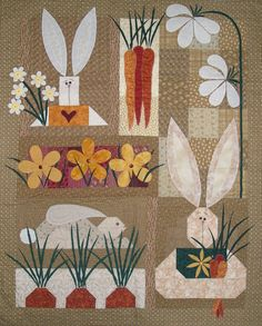Bunny Quilt! It's time to decorate with bunnies for Easter! Here's a spring wall quilt idea!