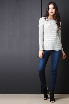 Back Button-Up Striped Long Sleeves Sweater Top