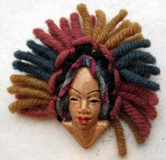 Vintage 1940s ELZAC Native Face Pin Wood Ceramic Yarn