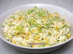 Fine and slightly creamy salad full of delicious vegetables, corn and pineapple, . - Home Office - Salade Recept - Fitness Dutch Recipes, Russian Recipes, Raw Food Recipes, Salad Recipes, Cooking Recipes, Healthy Recipes, Borscht Soup, Cabbage Salad, Main Dishes