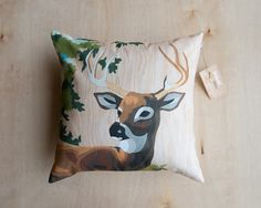 Paint by Number Deer Pillow Cover with Wood by StudioLiscious