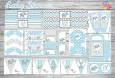 Kit imprimible Elefante Niño Baby Shower Games, Baby Shower Parties, Baby Boy Shower, Elephant Birthday, Elephant Theme, Baby Elefante, Baby Clip Art, Baby Kit, Elephant Baby Showers