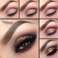 Gold glittered smokey eye