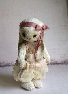 Artist Bunny Rabbit sweet teddy Rabbit OOAK by GriTanBears on Etsy