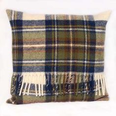 Tweedmill Pure New Wool Tartan Cushion with Pad Muted Blue Dress Stewart Tweedmill Textiles of Wales - woven in Denbigh on the edge of the Clwydian