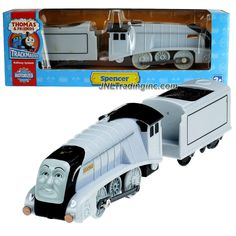 HiT Toy Year 2008 Thomas and Friends Trackmaster Motorized Railway Battery Powered Tank Engine 2 Pack Train Set - SPENCER the Silver Color Luxury Steam Locomotive with Coal Loaded Car