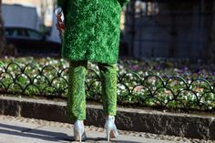 Love it! This lady does not give a crap.  Oscar the grouch coat is legendary.     Milan Fashion Week Prada coat, Jo No Fui pants, Miu Miu shoes