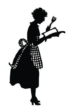 vintage silhouettes   Vintage Silhouette - Cute Lady in Apron - The Graphics Fairy