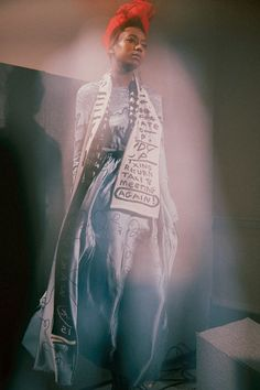 Scarve printed with to do lists at Claire Barrow AW15 Presentation LFW. See more here: http://www.dazeddigital.com/fashion/article/23746/1/claire-barrow-aw15
