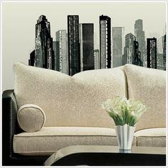 Cityscape Giant Wall Stickers Mural Room Decor Decals Buildings City Skyscraper | eBay