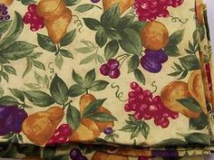 """Large Oval Fruit Pattern Tablecloth Cotton 84"""" x 60"""" Grapes Pears Plums   eBay"""