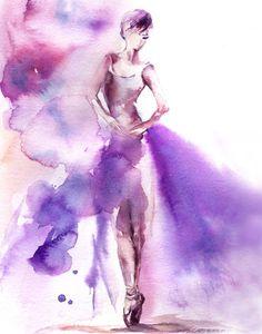Ballerina Watercolor Painting Art Print, Purple, Ballerina Painting, Watercolor Art, Dance Art, Dancer, Ballet