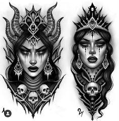 Neotraditionelles Tattoo, Forarm Tattoos, Devil Tattoo, Medusa Tattoo, Witch Tattoo, Body Art Tattoos, Sleeve Tattoos, Tattoo Girls, Girl Face Tattoo
