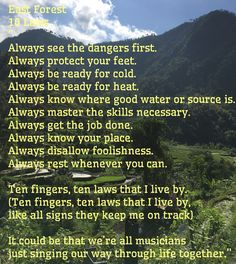 Lyrics to live by : East Forest, The Education Of The Individual Soul, 10 Laws