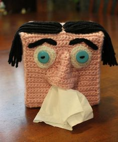 Tissue box cover   ===Iz this the ' SHIZZLE'....or what?!?!?!? I'm brain-storming....feels like a tsunami in my head!!! so many creative ideas for the hair & the eyes... Luv it!! ;)