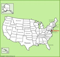 Delaware location on the US Map Maps Pinterest Delaware