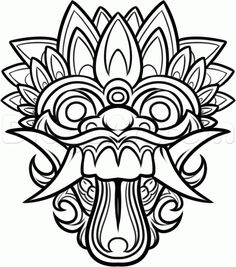 Dragon Masks to Color   Chinese Dragon Mask Drawing How to draw a balinese mask,