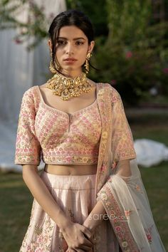 Buy Light Pink Raw Silk Floral Work Bridal Lehenga Choli @ the best price from saree.com by asopalav Bridal Lehenga Choli, Indian Fashion, Sari, Crop Tops, Floral, Skirts, Pink, How To Wear, Women