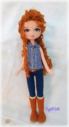 Zaczarowaneszydelko doll ❤lila❤ no pattern dolls amigurumi doll dollcrochet handmade ami dollamigurumipattern dolllove salvabrani Yarn Dolls, Knitted Dolls, Fabric Dolls, Crochet Dolls, Crochet Doll Pattern, Crochet Patterns Amigurumi, Amigurumi Doll, Cute Crochet, Crochet Baby