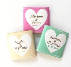 **Gastgeschenk Hochzeit Schokolade Dextro 20x**  Mit diesen süßen Schokoladentäfelchen (oder wahlweise Traubenzuckertäfelchen) kannst Du Deine Gäste verwöhnen und gleichzeitig deine Tafel herzig...